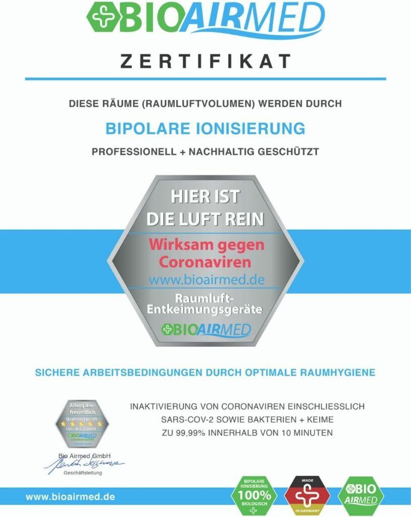 Ausgestattet mit zertifizierten Luftreinigern